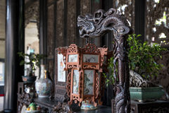 A wooden lantern of the Ming and Qing Dynasties in the Chen Clan Academy. Guangzhou city tourist attractions in Guangdong province China Chen Clan Academy. China royalty free stock image