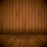 Wooden laqured stage wall and flor background sample text.  Royalty Free Stock Images