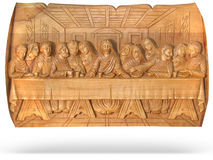 Wooden Last Dinner religion bas-relief isolated. Wooden Last supper religion bas-relief isolated over white background Royalty Free Stock Photos