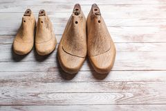 Wooden last for kids and mens footwear . Stock Image