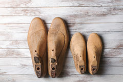 Wooden last for kids and mens footwear . Stock Photo