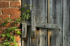 Wooden latch. Old barn door with wooden latch, Worcestershire, England Royalty Free Stock Image