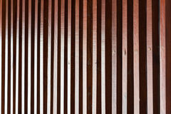 Wooden lath in daylight effect. Vertical wooden lath for wall decoration Royalty Free Stock Image