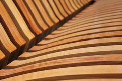 Wooden laths on a city shop Stock Photo
