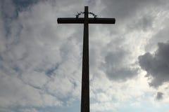 Wooden Latin cross over the National Cemetery in Terezin. Stock Image