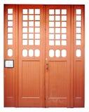 Wooden lattices as decorative elements on big orange color  wood Stock Image
