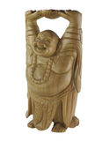 Wooden laughing man statue. Statue wooden laughing man on the white background Royalty Free Stock Images