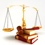Wooden law gave on pile of colorful book Stock Photography