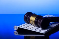 Workspace hero header with law gavel royalty free stock photos