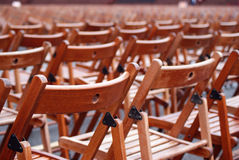 Wooden lawn chairs Stock Images