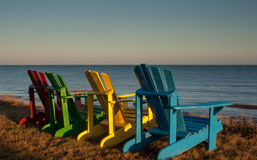 Wooden lawn chairs Stock Image