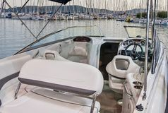 Interior of luxury yacht. royalty free stock photo
