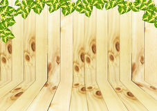Wooden and leave texture background. Royalty Free Stock Images