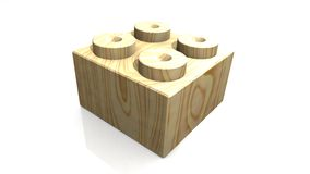 Wooden lego block (3D) Royalty Free Stock Photos