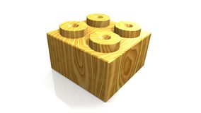 Wooden lego block (3D) Royalty Free Stock Photography