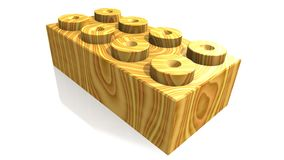 Wooden lego block (3D) Royalty Free Stock Photo