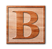 Wooden letter B. Royalty Free Stock Images