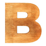 Wooden letter B. Old wooden letter B on wooden background. One of full alphabet wooden set Stock Photos