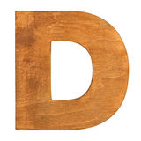 Wooden letter D. Old wooden letter D on wooden background. One of full alphabet wooden set Stock Images