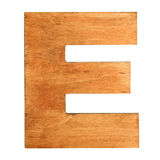 Wooden letter E. Old wooden letter E on wooden background. Vintage wooden letter E. One of full alphabet wooden set Stock Images