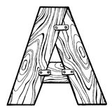 Wooden letter A engraving vector illustration Stock Images