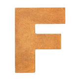 Wooden letter F. Old wooden letter F on wooden background. One of full alphabet wooden set Stock Images