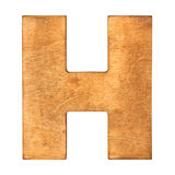 Wooden letter H. Old wooden letter H on wooden background. One of full alphabet wooden set Stock Photography