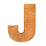 Wooden letter J. Old wooden letter J on wooden background. Vintage wooden letter. One of full alphabet wooden set Stock Images