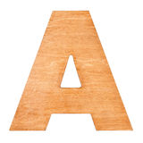 Wooden letter A. Old wooden letter A on wooden background. One of full alphabet wooden set Stock Images