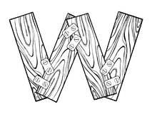 Wooden letter W engraving vector illustration Stock Photos