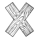 Wooden letter X engraving vector illustration Royalty Free Stock Photography