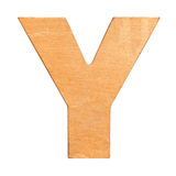 Wooden letter Y. Old wooden letter Y on wooden background. One of full alphabet wooden set Royalty Free Stock Photos