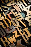 Wooden Letterpress Background Stock Images