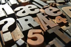 Wooden letterpress closeup, various typefaces Royalty Free Stock Image