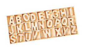 Wooden letters ABC alphabet for kid in box. Stock Photo