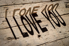 Wooden letters build the word i love you Royalty Free Stock Image