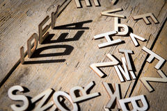 Wooden letters build the word idea Royalty Free Stock Photos
