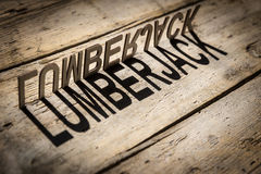Wooden letters build the word lumberjack Stock Image