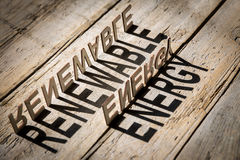 Wooden letters build the word renewable energy Stock Image