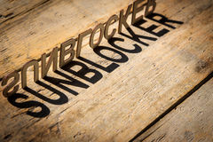 Wooden letters build the word sunblocker Stock Images