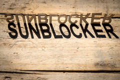 Wooden letters build the word sunblocker Stock Image