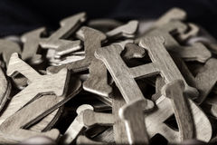 Wooden letters, in duotone Royalty Free Stock Photos