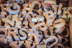 Wooden letters of the English alphabet for sale in the wood shop royalty free stock images