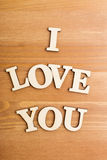 Wooden letters forming phrase I Love You Stock Photography