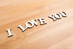 Wooden letters forming with phrase I Love You Royalty Free Stock Image