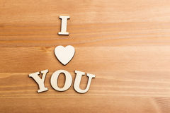 Wooden letters forming with phrase I Love You Stock Image