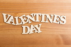Wooden letters forming phrase Valentines day Royalty Free Stock Image