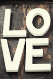 Wooden letters forming word LOVE Stock Images