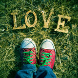 Wooden letters forming the word love on the grass, with a filter Royalty Free Stock Photos