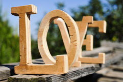 Wooden letters forming the word love Stock Images